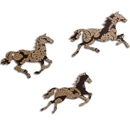 Brown and Gold Galloping Horses