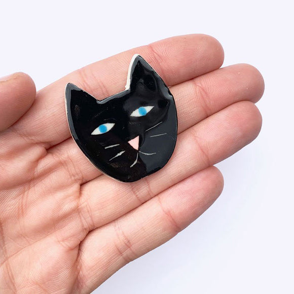 Ceramic Cat Brooch