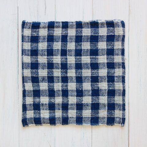 Indigo & Natural Cotton Check Face Washer