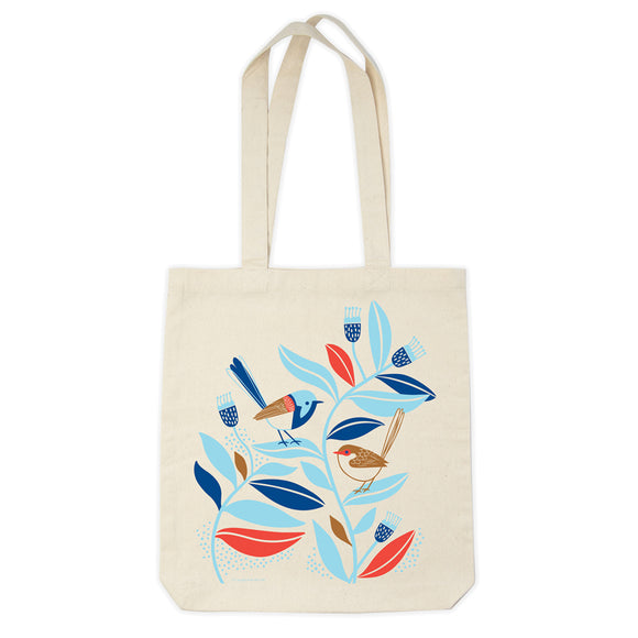 Organic Cotton Tote Bag - Peaceful Wrens