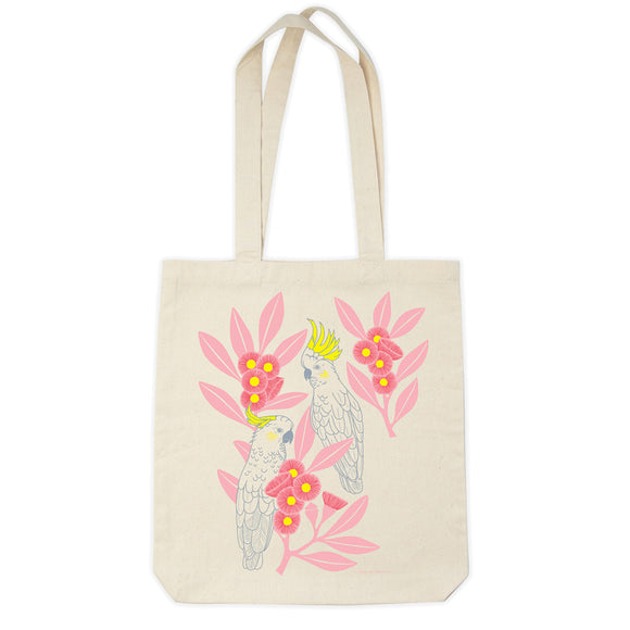 Organic Cotton Tote Bag - Silver Gum Cockatoos