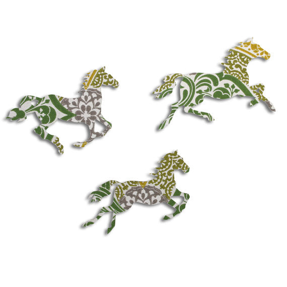 Green Patterned Galloping Horses