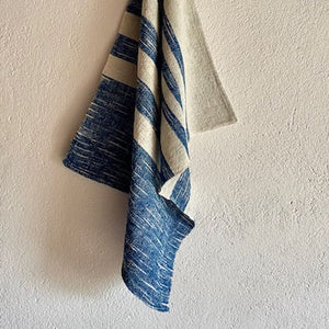 Indigo & Natural Cotton Ikat Stripe Tea Towel