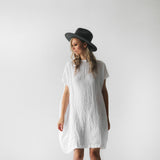 Short Linen Dress White