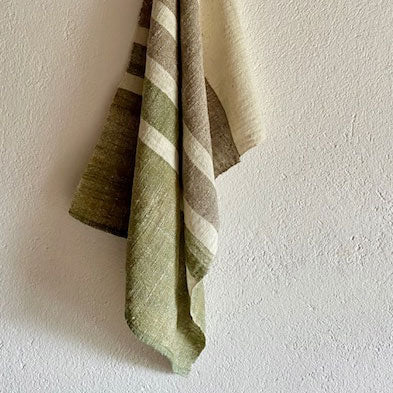Green, Mekong Clay & Natural Cotton Stripe Tea Towel