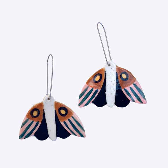 Ceramic Midnight Moth Earrings