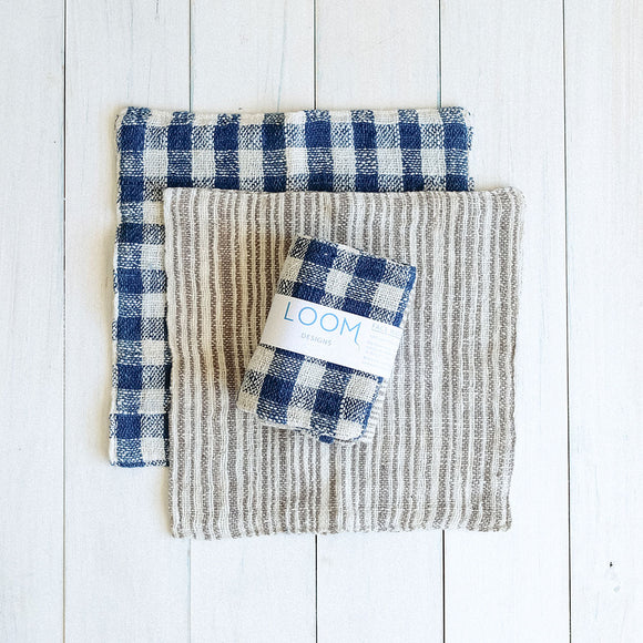 Indigo & Natural Cotton Check/Mekong Clay & Natural Cotton Stripe Face Washer Set of 2