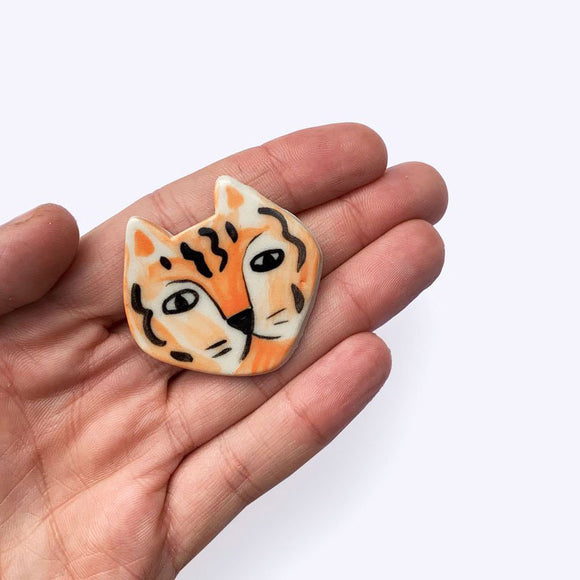 Ceramic Tiger Brooch