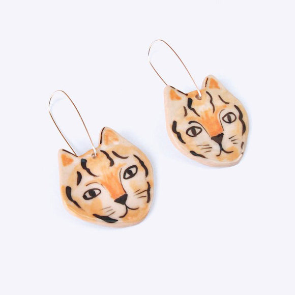 Ceramic Tiger Earrings