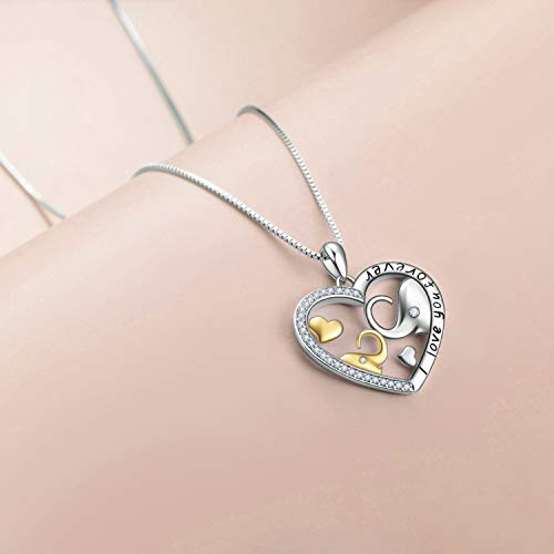 Mom Elephant and Baby Elephant Heart Necklace