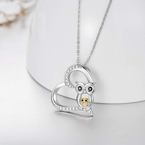 Mother and Child Owl Love Heart Pendant Ow lNecklace