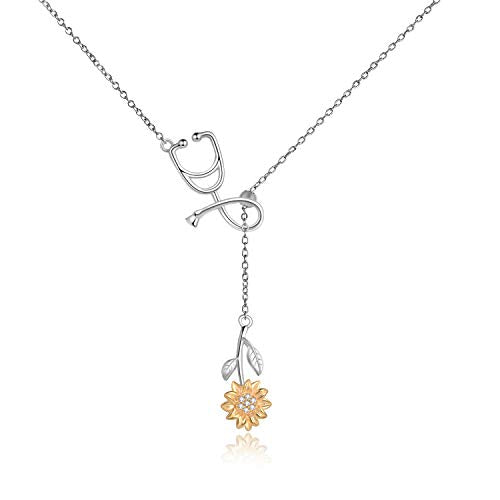 Stethoscope Sunflower Lariat Necklace