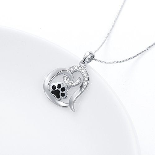 Puppy Paw Print Love Heart Pendant Necklace