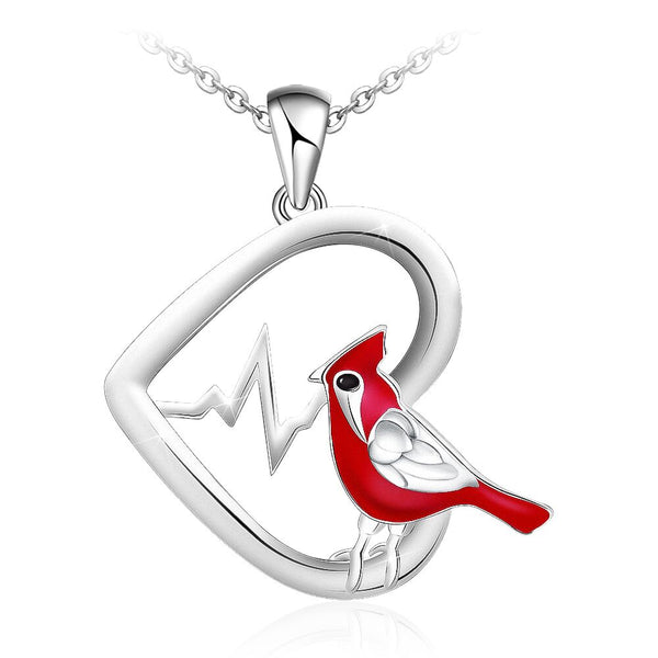 Heartbeat Cardinal Heart Pendant Necklace Sterling Silver Gift for Women