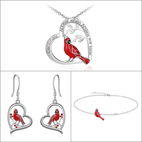 Cardinal Sterling Silver Heart Necklace Earrings and Bracelet Set for Women Girls - Cardinal appear when Angels are near