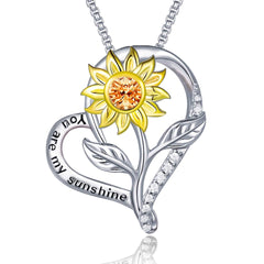Sunflower Heart Pendant Necklace 925 Sterling Silver Jewelry Gifts for Women Girls