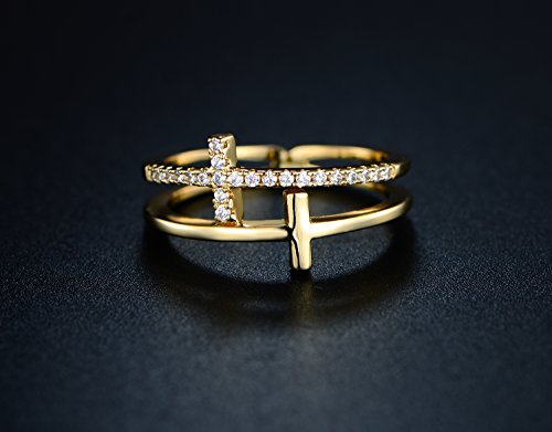18k Gold Plated Cubic Zirconia Double Cross Ring