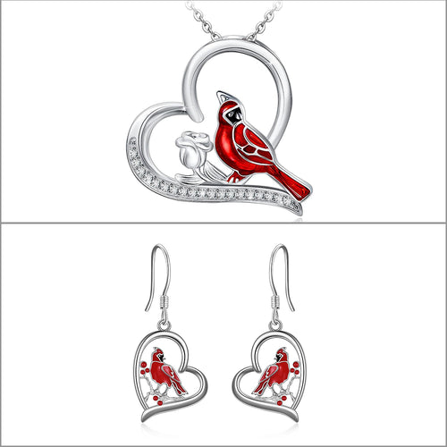Cardinal Bird Rose Flower Heart Pendant Necklace and Heart Pendant Earrings Jewelry Gifts for Women Girls - Cardinal appear when Angels are near