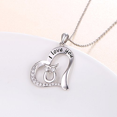 Engraved Wise Owl in Heart Inspirational Necklace