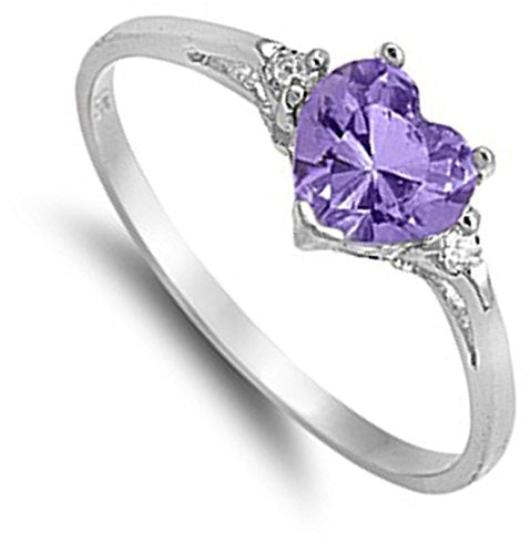 Heart Shaped Amethyst Promise Ring