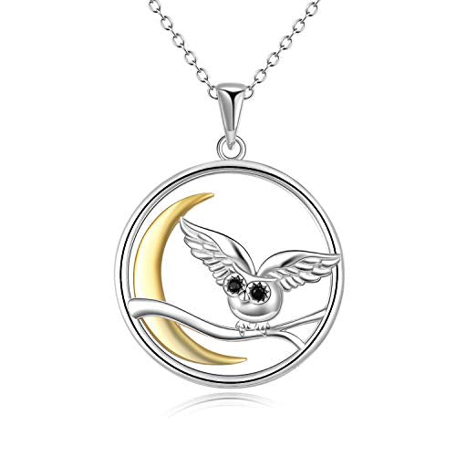 Moon Owl on The Branch Necklace