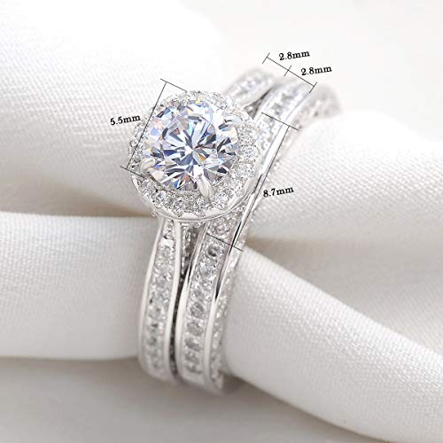 Round White AAA Cz Engagement Ring Set