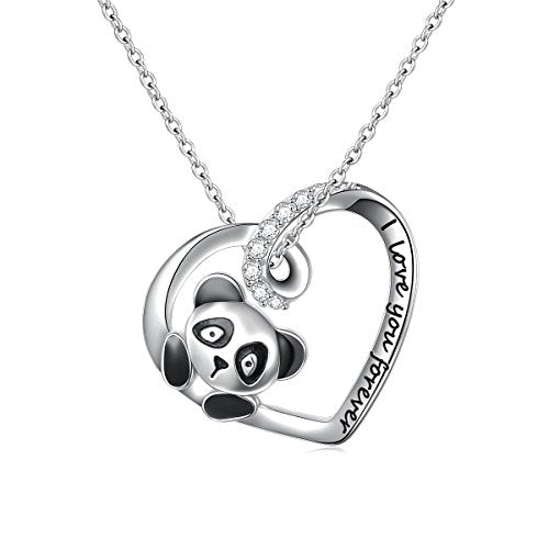 "Engraved ""I Love You Forever"" Cute Animal Panda Heart Pendant Necklace"