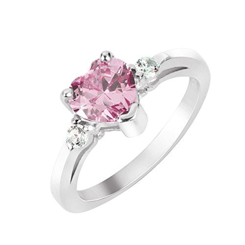 Pink Heart Crystal Promise Ring