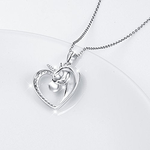 Forever Love Unicorn in Heart Pendant Necklace