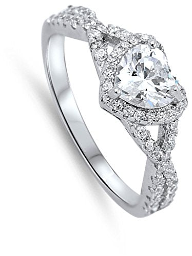 Heart Clear CZ Halo Promise Ring