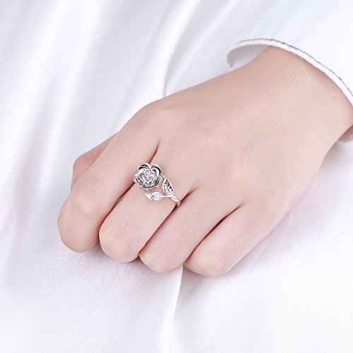White Gold Rose Flower Leaf Open Ring