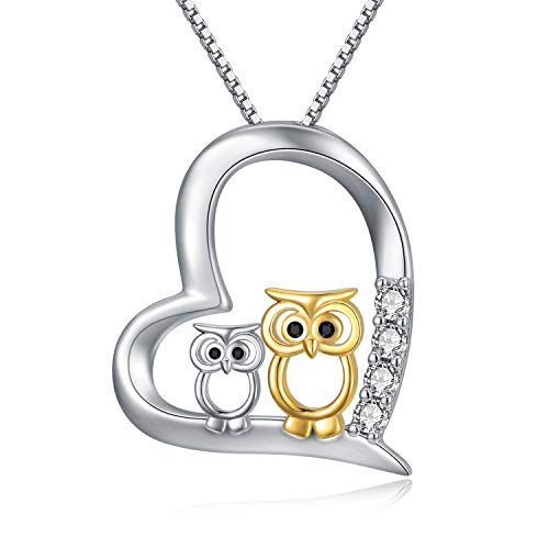 Gold Owl Love Heart Necklace