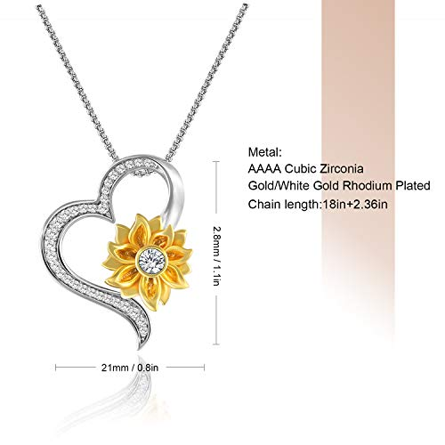 You are My Sunshine Sunflower Heart Pendant Necklace