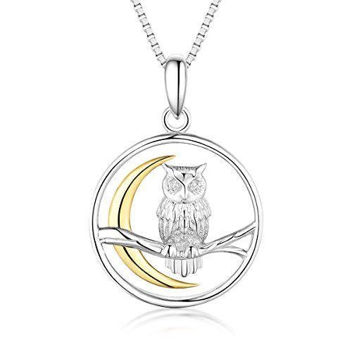 Owl on The Branch Moon Pendant Necklace