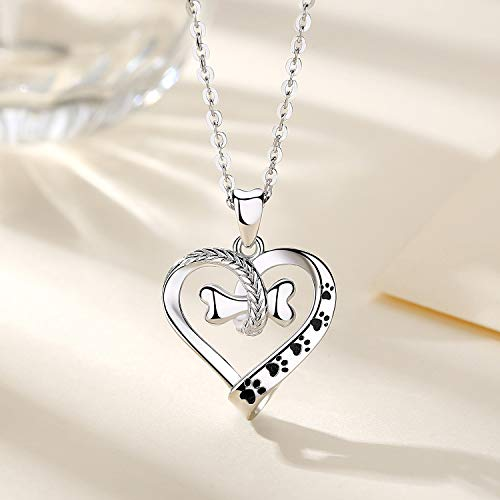Cute Dog Paws with Bone Heart Shape Pendant Necklace