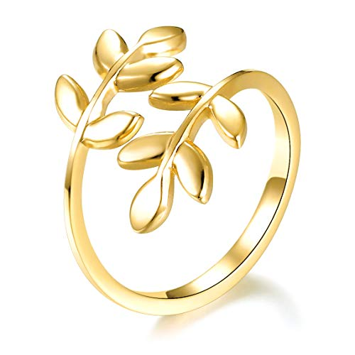 18k Gold Plated Leaves Leaf Laurel Branch Ring
