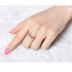 18K Rose Gold Plated Clear Exquisite Princess Crown Ring