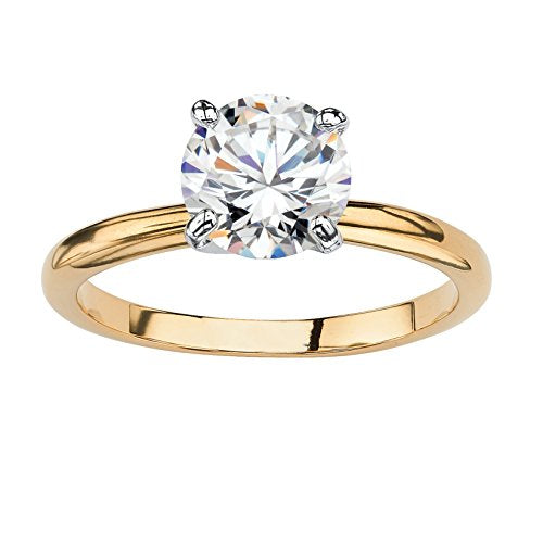 18K Gold Plated Round Cubic Zirconia Solitaire Engagement Ring