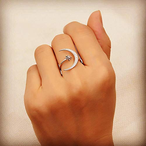 Cubic Zirconia Crescent Open Ring