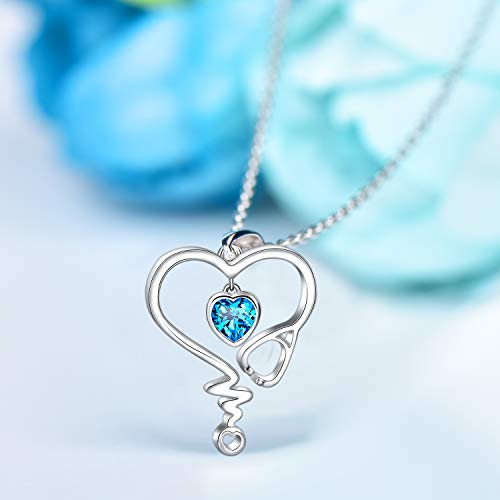 Sapphire Heart Stethoscope 925 Sterling Silver Necklace