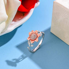 Natural Sunflower Leaf Open Ring