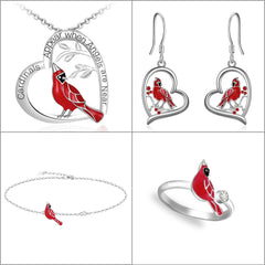 Cardinal Sterling Silver Heart Necklace Earrings Ring and Bracelet Set for Women Girls - Cardinal appear when Angels are near