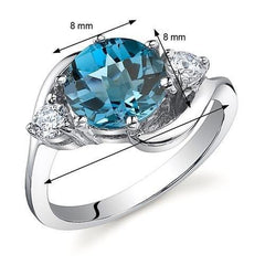 3 Stone Blue Topaz Ring