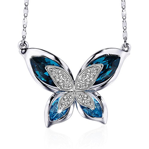 Blue Crystal Butterfly Pendant Necklace