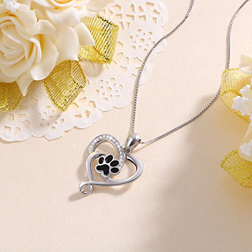Dog Pet Paw Print Love Heart Pendant Necklace