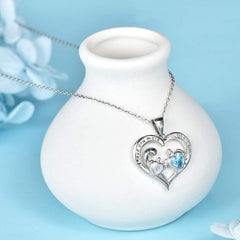 Mom and Baby Sea Turtle Heart Pendant Necklace 925 Sterling Silver for Women Girls Mother Wife