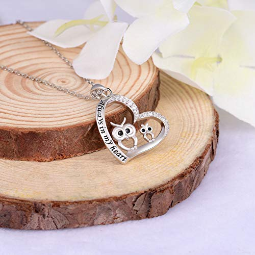 Mother Daughter Owl Heart Pendant Necklace