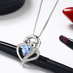 Blue Love Heart with Owl Pendant Necklaces