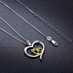 Two Owl Love Heart Pendants Necklace