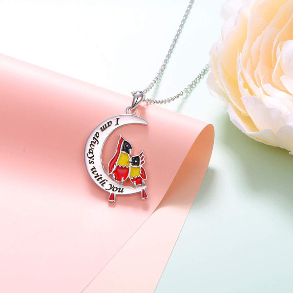 Cardinal Moon Pendant Necklace 925 Stering Silver Gift for Women Daughter